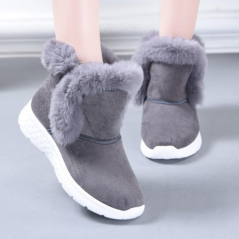 Solid suede brief fur ankle boots