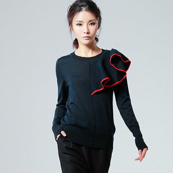 Crew neck falbala knitted sweaters - Fancyever