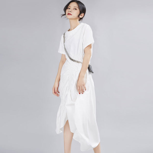 Pleated irregular ruffled midi dresses