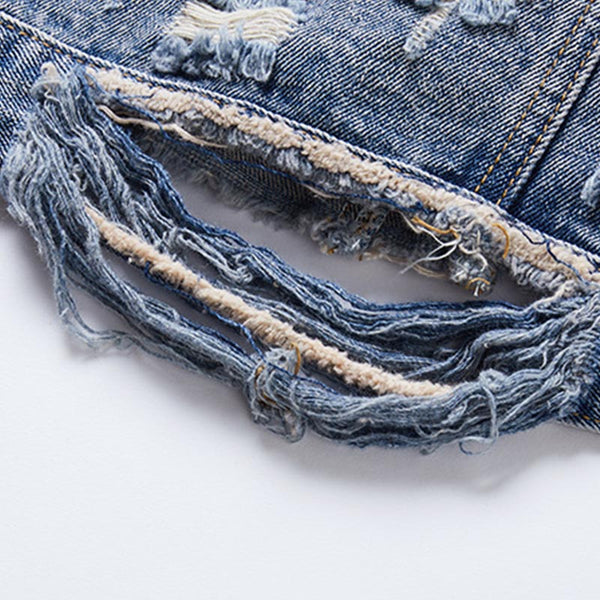Swan pattern ribbed denim jackets