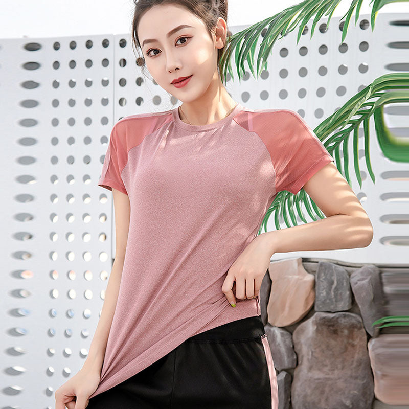 Color block breathable quick-dry active tees