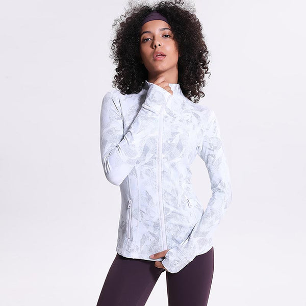 Zip-up printed yoga running sport jackets - Fancyever