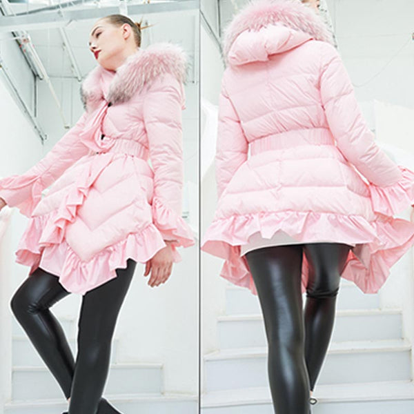 Faux fur collar asymmetric ruffle down coats