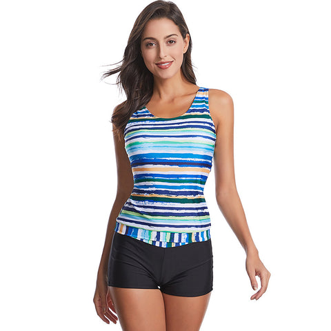 Striped high waisted tankinis