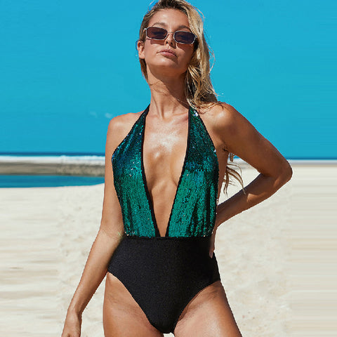 Plunging color block sequin shine one-piece swimwear