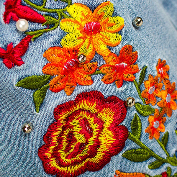 Denim embroidered drilling flare pants