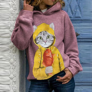 Loose cat printed stylish hoodies