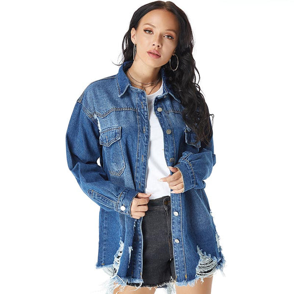 Gradient ramp ripped irregular denim jackets