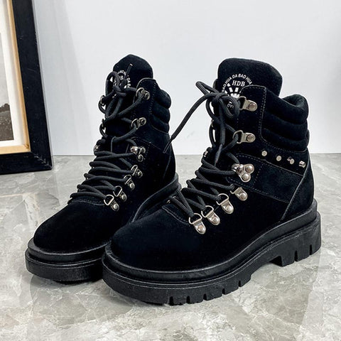 Lace-up solid non-slip ankle boots