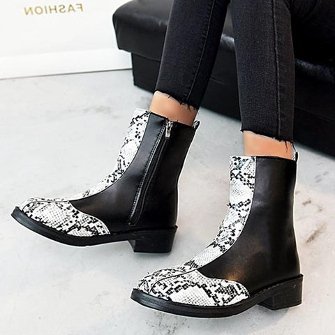 Leopard patchwork PU leather ankle boots