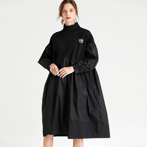 Half-collar patchwork oversize tee shift dresses