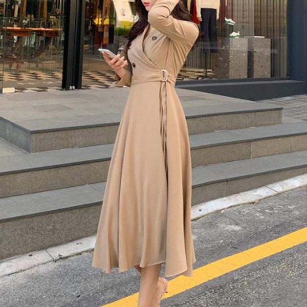 Lapel a line pleated midi dresses