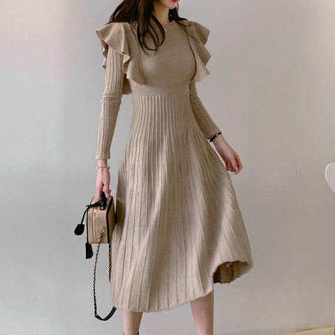 Crew neck ruffle a line sweater dresses