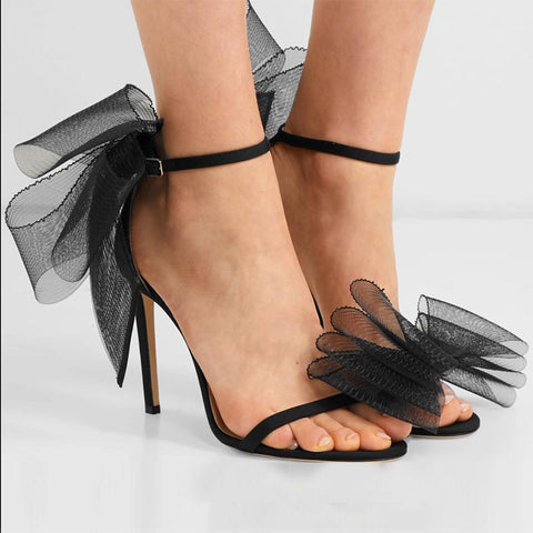 Bowknot mesh patchwork ankle-strap sandals