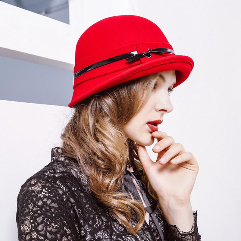 Faux leather crimping trilby hats - Fancyever