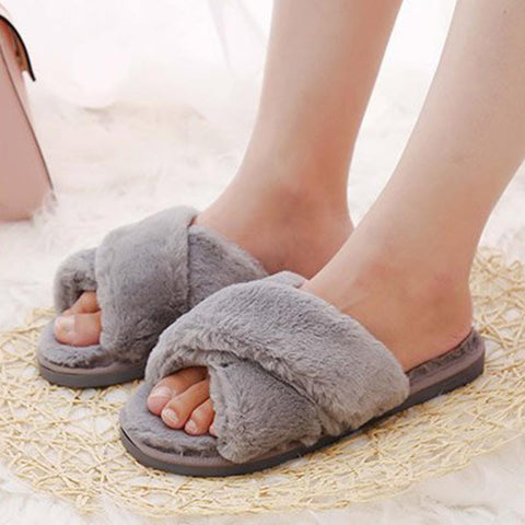 Cross solid fur cute slippers