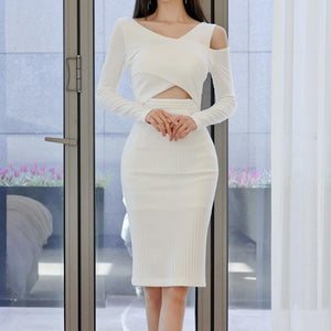 Stretchy solid openwork knitted bodycon dresses