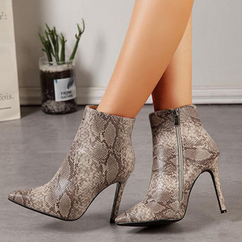 PU leather chic pointed ankle boots