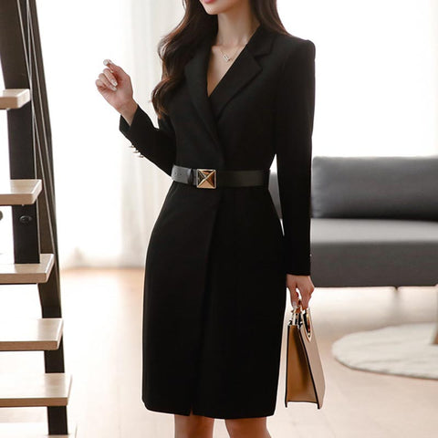 Lapel solid belted office blazer shift dresses