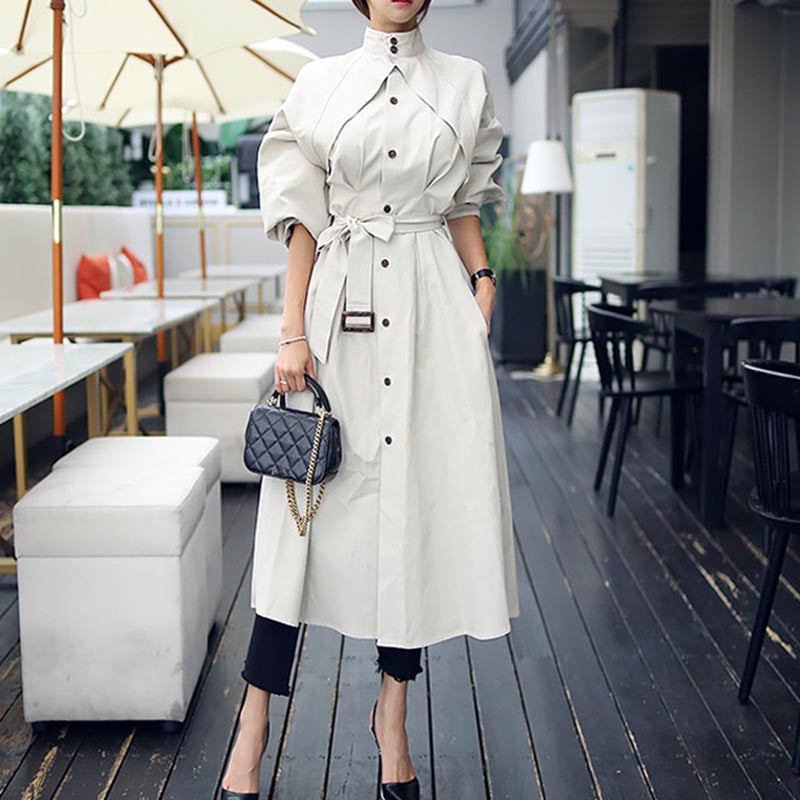 Mock neck buttoned belted trench coats