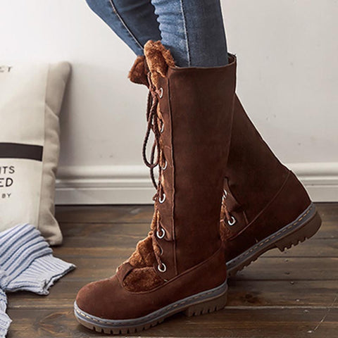 Suede lace-up solid cold resistant winter boots