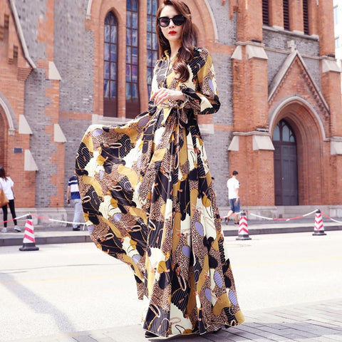 Long sleeve print maxi dresses - Fancyever