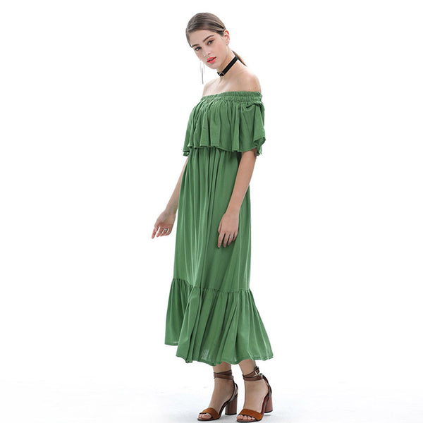 Off the shoulder high waisted pleated dresses
