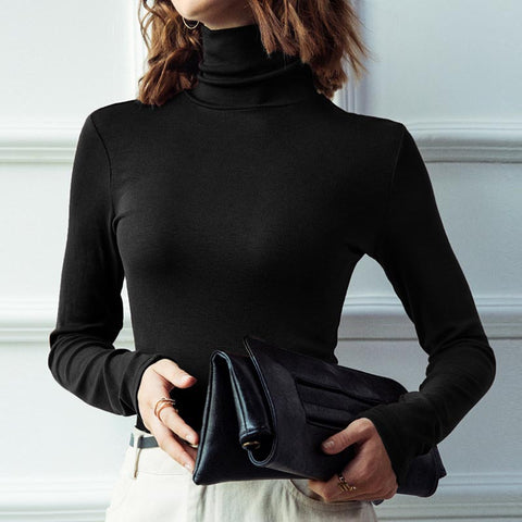Turtleneck solid soft basic knit tops