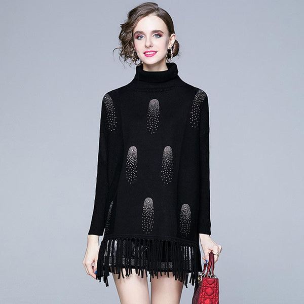 Turtleneck rhinestone fringed long sweaters