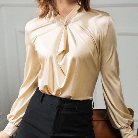 V neck solid glossy blouses