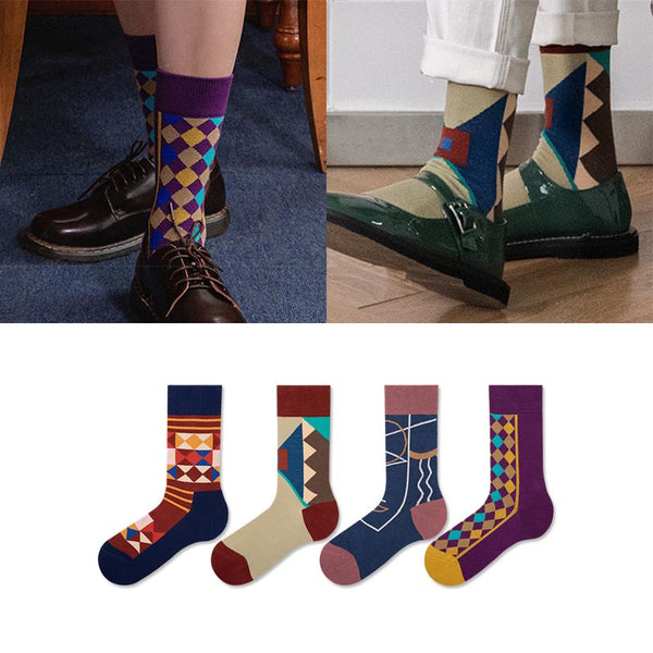 5 pairs plaid combed cotton ankle socks