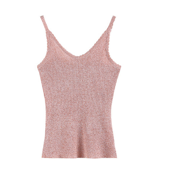 Solid color v-neck knitted camisoles