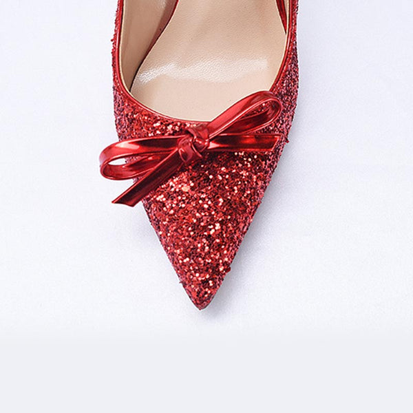 Pointed toe bowknot sequin wedding heels