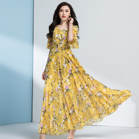 Plus size ruffled high waisted floral maxi dresses
