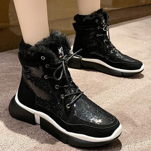 Sequin patchwork lace-up fur ankle boots