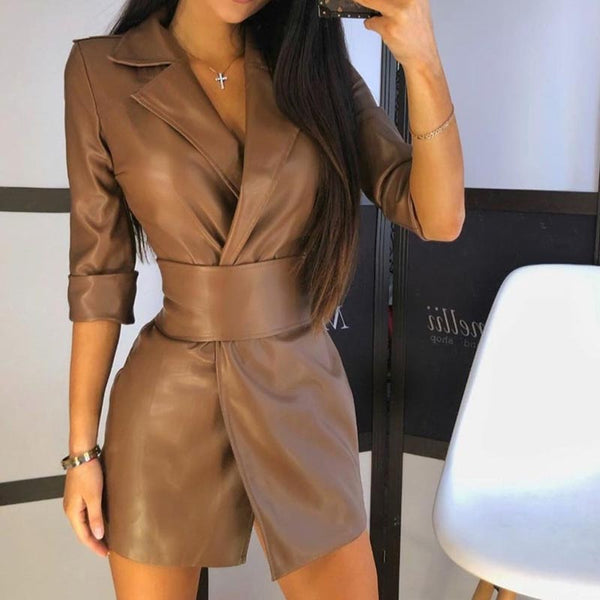 PU leather solid belted mini bodycon dresses