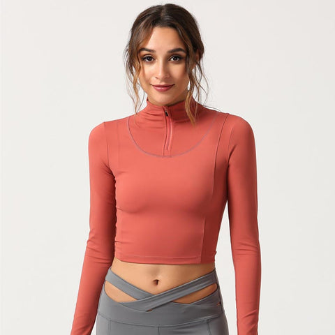 Half-zip mock neck cropped sport tops