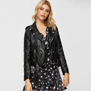 Faux leather belted moto jackets - Fancyever