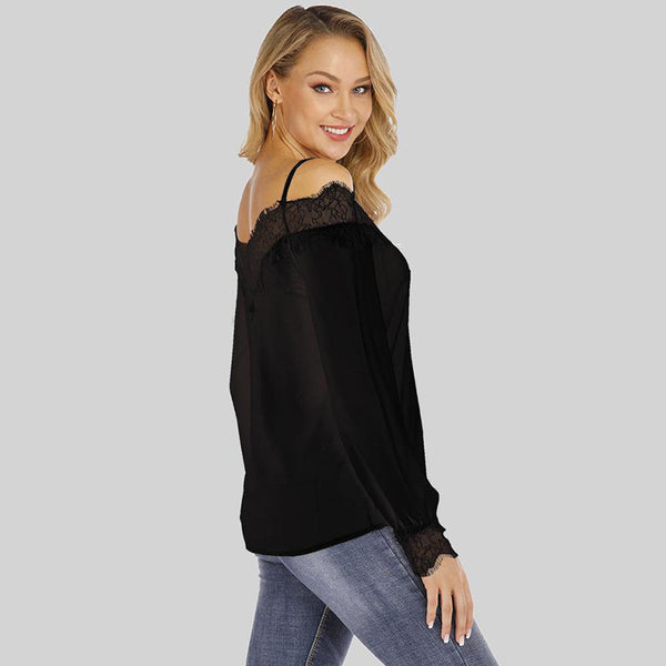 Lace off the shoulder sexy blouses