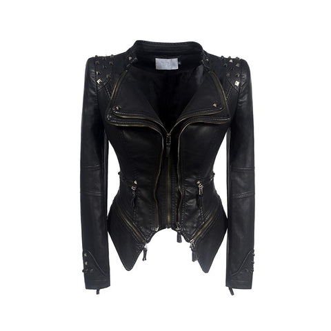 Gathered waist rivet faux leather punk jackets