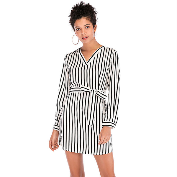 V-Neck striped wrap dresses