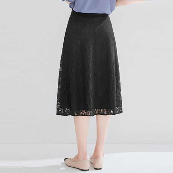 Lace high waisted a-line skirts - Fancyever