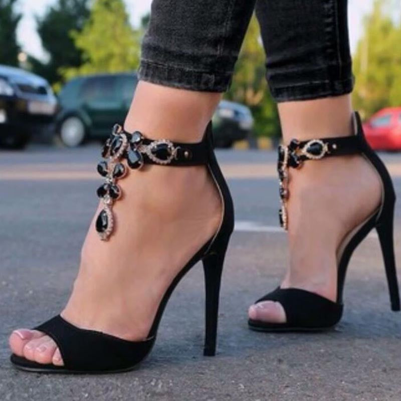 Black pointed toe rhinestone high heel sandals