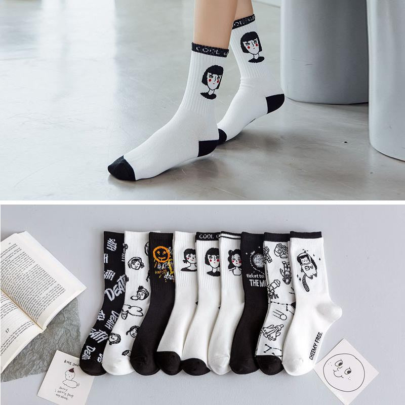 10 pairs print hit color ankle socks