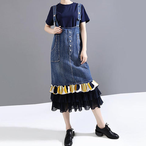 Mesh patchwork midi denim dresses