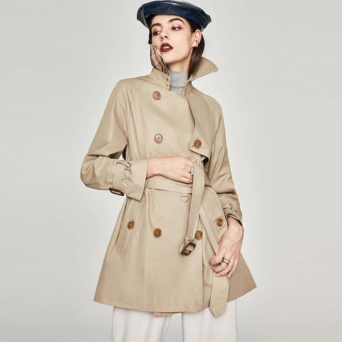 Double-breasted belted short trench coats