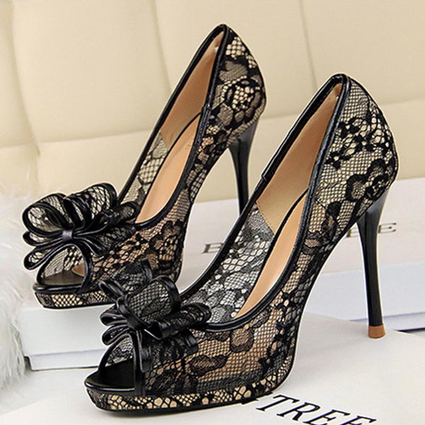 Peep toe lace bowknot sandals