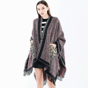 Leopard printed tassel ponchos with pockets - Fancyever