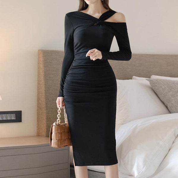 Sexy solid split knitted bodycon dresses