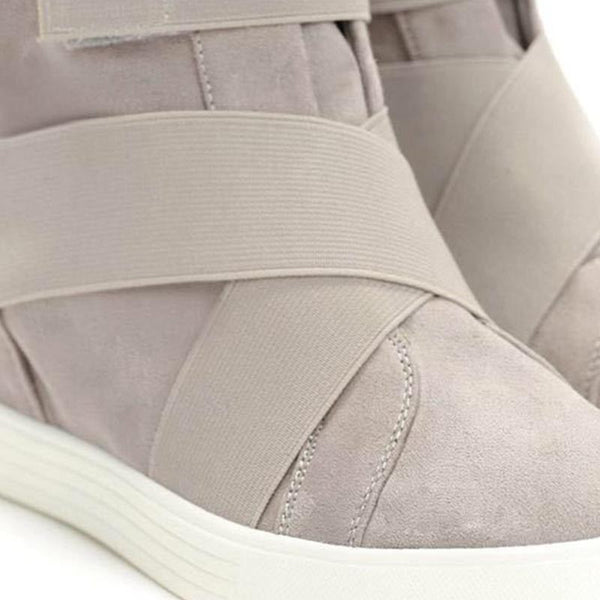 Hidden wedge solid suede ankle boots
